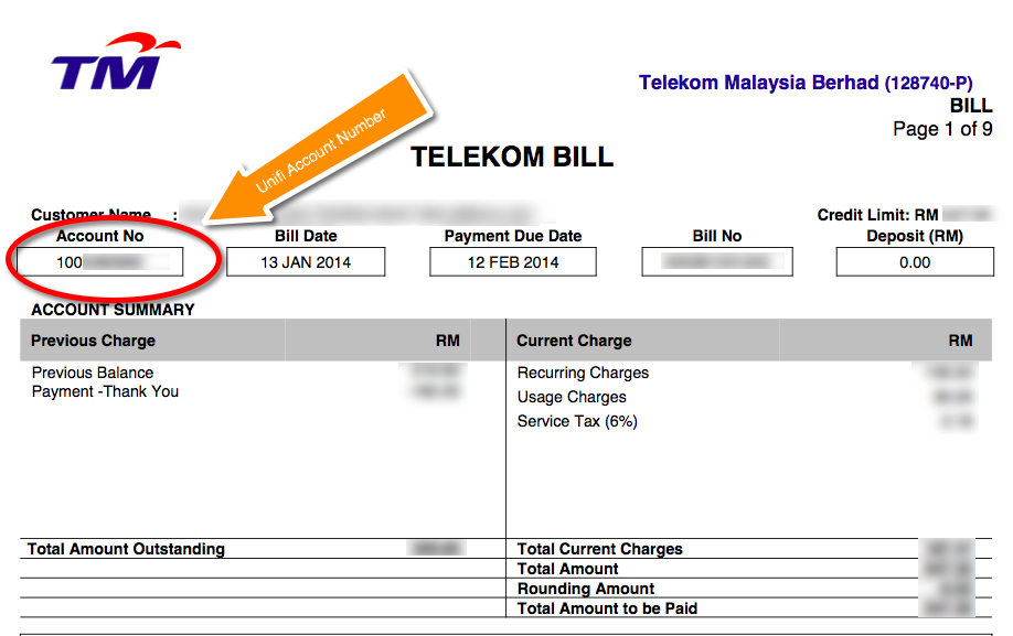Unifi Bill Account Number Sample